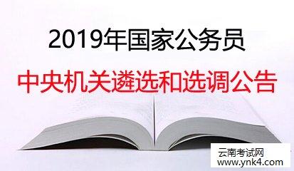 云南公务员考试网:2019中央机关遴选和选调公务员公告