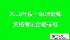 云南人事考试网:2018年度一级建造师资格考试合格标准