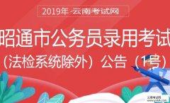 公务员:2019年昭通市公务员录用考试(法检系统除外)公告(1号