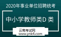 云南招考频道:2020事业单位招聘统考考试中小学教师类(D 类)
